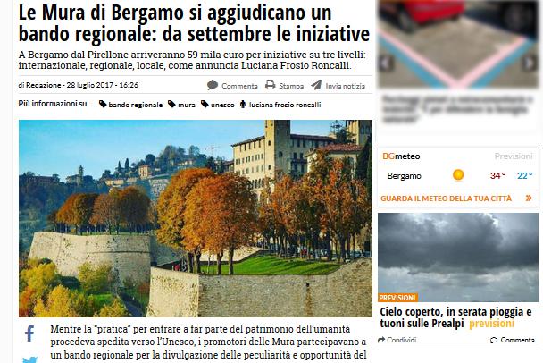 Rassegna stampa – Le Mura di Bergamo si aggiudicano un bando regionale: da settembre le iniziative